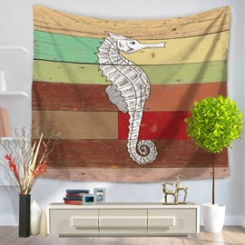 White Crocodile Pattern Colorful Stripes Rustic Style Decorative Hanging Wall Tapestry
