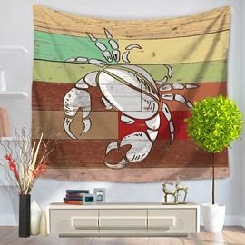 White Crab Pattern Colorful Stripes Rustic Style Decorative Hanging Wall Tapestry