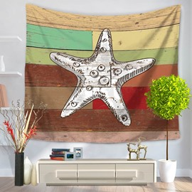 White Starfish Pattern Colorful Stripes Rustic Style Decorative Hanging Wall Tapestry