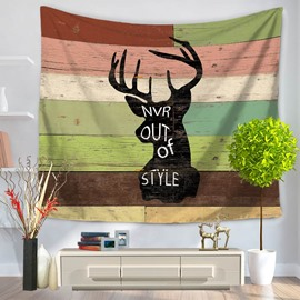Black Wapiti Deer Printed with Letters Vintage Style Decorative Hanging Wall Tapestry