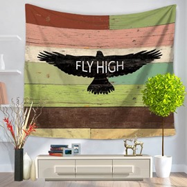 Black Eagle Flying High Letters Stripes Vintage Style Decorative Hanging Wall Tapestry
