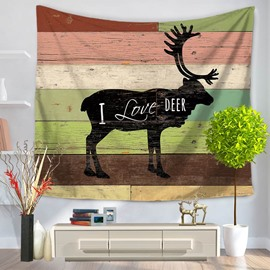 Black Deer Printed with Letters Stripes Rustic Style Decorative Hanging Wall Tapestry