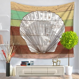 White Shell Pattern Colorful Stripes Rustic Style Decorative Hanging Wall Tapestry