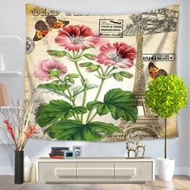 Red Mallow Flowers Blooming and Butterfly Eiffel Tower Decorative Hanging Wall Tapestry