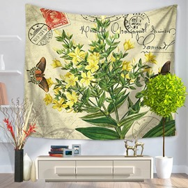 Yellow Flower Blossom Plant and Butterfly Rustic Style Decorative Hanging Wall Tapestry