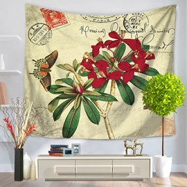 Red Flower Blossom Plant and Butterfly Rustic Style Decorative Hanging Wall Tapestry