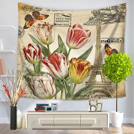 Colorful Tulip and Butterflies Eiffel Tower Decorative Hanging Wall Tapestry