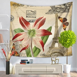 A Blooming Lily and Butterflies Eiffel Tower Decorative Hanging Wall Tapestry