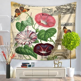 Colorful Morning Glory and Butterflies Eiffel Tower Decorative Hanging Wall Tapestry