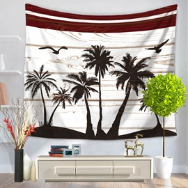 Coconut Trees and Seagulls Casual Style Decorative Hanging Wall Tapestry