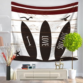Three Surfboards and Seagull Printed Casual Style Decorative Hanging Wall Tapestry