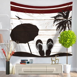 Slipper Umbrella and Coconut Tree Sea Beach Printed Casual Style Hanging Wall Tapestry