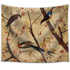 Oil Painting Birds with A Branch Decorative Hanging Wall Tapestry