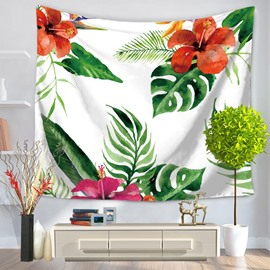 Tropical Palm Leaves and Flowers Natural Style Decorative Hanging Wall Tapestry