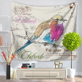 Oil Painting Colorful Lonely Birds Vintage Style Decorative Hanging Wall Tapestry