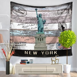 New York Postcard Statue of Liberty Vintage Style Decorative Hanging Wall Tapestry