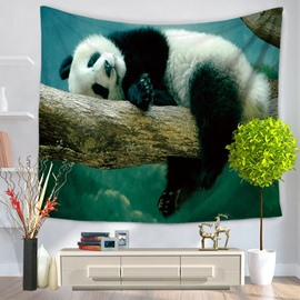 Panda Lying on the Trunk and Acting Cute Pattern Decorative Hanging Wall Tapestry