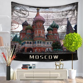 Moscow Postcard St. Basil's Pattern Vintage Style Decorative Hanging Wall Tapestry