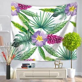 Purple Flowers and Palm Leaves Pattern Natural Style Decorative Hanging Wall Tapestry