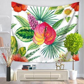 Red Flowers and Palm Leaves Pattern Decorative Hanging Wall Tapestry
