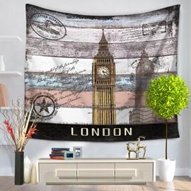 London Postcard Big Ben Clock Pattern Vintage Style Decorative Hanging Wall Tapestry