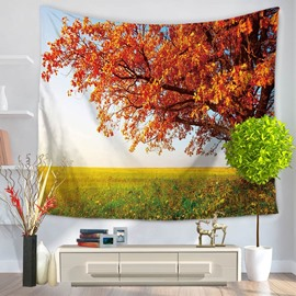 Maple Tree in Wide Field Natural Style Decorative Hanging Wall Tapestry