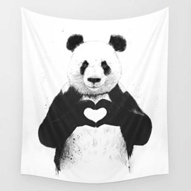 Cute Fat Panda Showing His Love to You Decorative Hanging Wall Tapestry