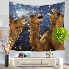 Tree Camels with Happiness Laughter Galaxy Stars Decorative Hanging Wall Tapestry