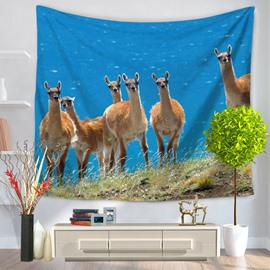 Six Camel Alpacas Watching in Field Blue Sky Decorative Hanging Wall Tapestry