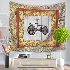 Old Fashioned Motorcycle with Photo Frame Vintage Style Decorative Hanging Wall Tapestry
