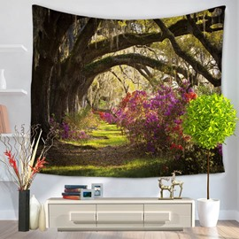 Sunset Lush Woods and Path Natural Landscape Decorative Hanging Wall Tapestry