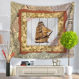 Sailing Boat Voyaging with Photo Frame Vintage Style Decorative Hanging Wall Tapestry