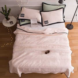 Solid Light Pink Simple Style Lightweight Polyester Summer Quilt