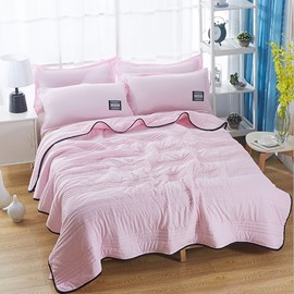 Solid Pink Simple Style Lightweight Polyester Summer Quilt