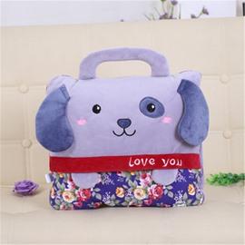 Light Purple Dog Design Dual-Use Portable Throw Pillow /Blanket