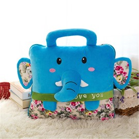 Blue Elephant Design Dual-Use Portable Throw Pillow /Blanket