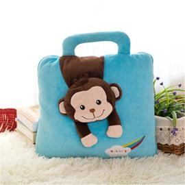 Blue Monkey Pattern Dual-Use Portable Throw Pillow/Blanket