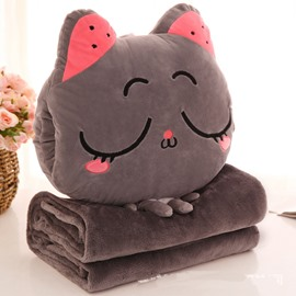 Brown Cat with Closed Eyes Design Dual-Use Throw Pillow/Blanket