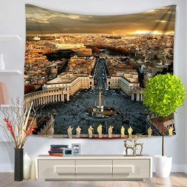 Top View of European Architecture Saint Peter's Basilica Pattern Decorative Hanging Wall Tapestry