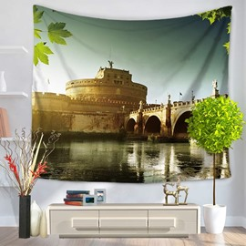 European Architecture Castle and Bridge Decorative Hanging Wall Tapestry