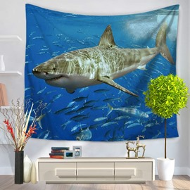 Blue Ocean Shark Surrounding with Fishes Pattern Decorative Hanging Wall Tapestry