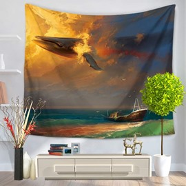 Shark Through Colorful Cloud and Ocean Boat Decorative Hanging Wall Tapestry