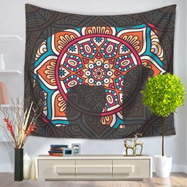 Floral Mandala Pattern under Partial Gray Yarn Ethnic Style Decorative Hanging Wall Tapestry