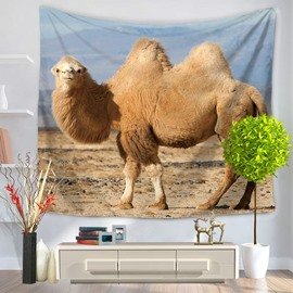A Beige Camel in Desert Pattern Decorative Hanging Wall Tapestry
