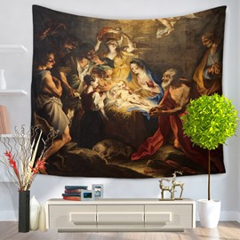 Nativity of Jesus Oil Painting Vintage Style Decorative Hanging Wall Tapestry