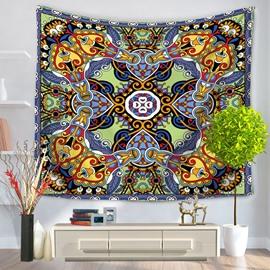 Symmetric Mandala Pattern Ethnic Style Decorative Hanging Wall Tapestry