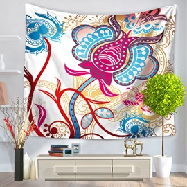 Colorful Paper-Cut Art Blue Flowers and Leaves Pattern Decorative Hanging Wall Tapestry