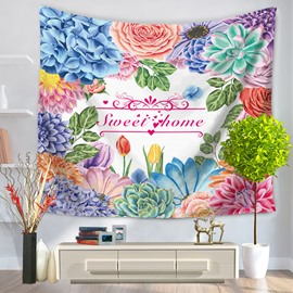 Colorful Flowers Decorated and Sweet Home Letters Pattern Hanging Wall Tapestry