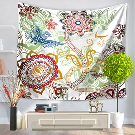 Floral Pattern with Birds Pastoral Style Decorative Hanging Wall Tapestry