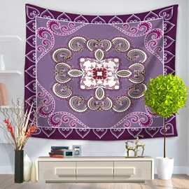 Purple Floral Mandala Pattern Ethnic Style Decorative Hanging Wall Tapestry